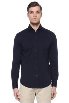 Brunello Cucinelli Erkek Lacivert İngiliz Yaka Gömlek 50 IT(113465940)