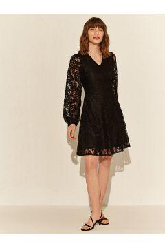 Kadın Dantel Detaylı V Yaka Elbise(110907904)
