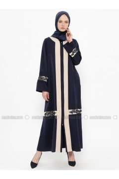 Navy Blue - Unlined - Crew neck - Abaya - Tekbir(110335647)