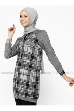 Gray - Plaid - Unlined - Crew neck - Topcoat - Dadali(110323029)
