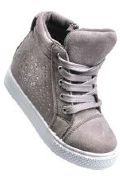 Pantofelek24.pl | Dziewczęce sneakersy na niskim obcasie SZARE(112082461)