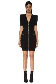 Balmain Kadın Siyah V Yaka Fermuarlı Kısa Kol Mini Triko Elbise 36 FR(119423158)