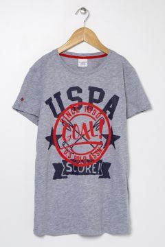 U.S. Polo Assn. Gri Melanj Erkek Çocuk T-Shirt(125087594)