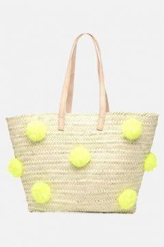 SALE -30 Etincelles - Panier artisanal Pompom Jaune Fluo - SALE Handtaschen / gelb(111573956)
