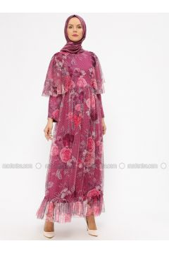Pink - Fuchsia - Floral - Fully Lined - Crew neck - Muslim Evening Dress - BÜRÜN(110314476)