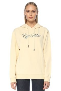 Off-White Kadın Bej Kapüşonlu Logo Nakışlı Sweatshirt XS EU(123319867)