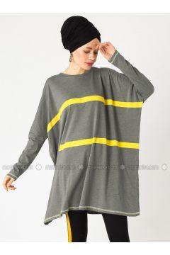 Green - Stripe - Crew neck - Cotton - Tunic - PLİSTRE(110317917)