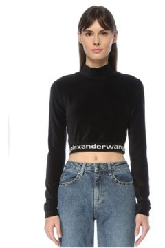 T by Alexander Wang Kadın Siyah Dik Yaka Kontrast Logo Şeritli Crop Tshirt S EU(123840751)