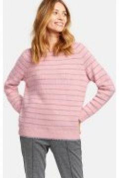 Miękki sweter w błyszczące paski Różowy XL(115901744)