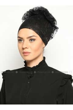 Lace Bonnet- Black - Bonecci(110343582)