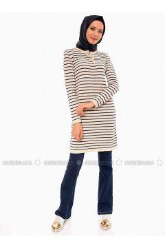 Beige - Stripe - Crew neck - Acrylic -- Tunic - Por La Cara(110318377)