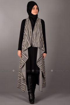 Black - Stripe - Unlined - Vest - Henna Elısa(110336551)