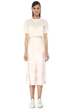 Allsaints Kadın Benno Pembe Beyaz T-shirt Detaylı Midi Elbise XS EU(118060079)