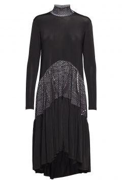 Long Ruffle Dress Kleid Knielang Schwarz DIANA ORVING(114163083)