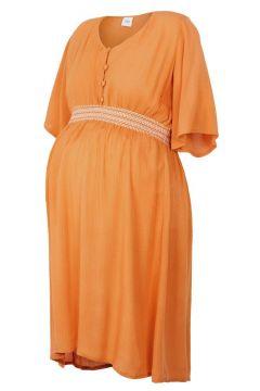 MAMA.LICIOUS Smockprydd Midilång Mammaklänning Kvinna Orange(109132199)