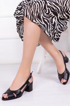 Deripabuc Hakiki Deri SİYAH Kadın Topuklu Deri Ayakkabı(124966404)