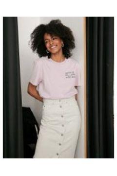 Dr Denim - T-shirt con scritta-Rosa(112348423)