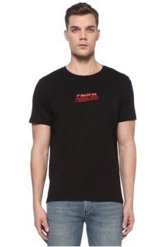 Academia Erkek Siyah Slogan Baskılı Basic T-shirt XS EU(108873750)