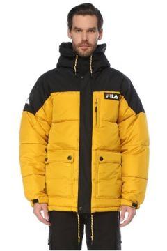 Fila Erkek Escurcione Sarı Siyah Kapüşonlu Puff Mont S EU(123840667)
