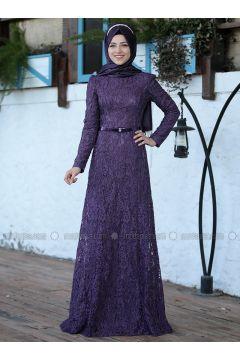 Purple - Fully Lined - Crew neck - Muslim Evening Dress - Al-Marah(110316492)