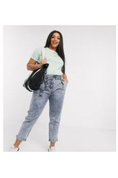 Urban Bliss Plus - Mom jeans con vita alta e cintura blu(120356120)