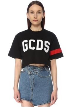 Gcds Kadın Siyah Logolu Crop T-shirt L EU(113468151)