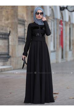 Black - Crew neck - Fully Lined - Dresses - Rana Zenn(110331714)