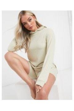 Loungeable - Felpa mix & match oversize in morbida maglia avena a coste con cappuccio-Beige(121846337)