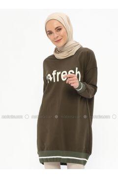 Cotton - Crew neck - Khaki - Sweat-shirt - İLMEK TRİKO(110321770)