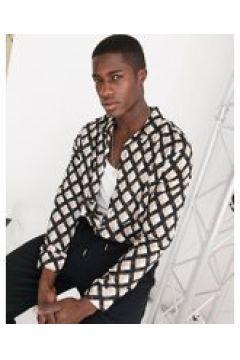 Topman - Camicia a maniche lunghe con stampa geometrica nera-Nero(122237960)