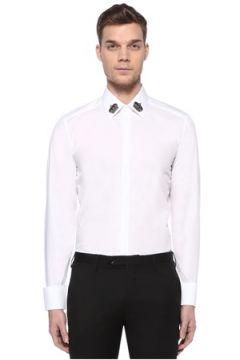 Dolce&Gabbana Erkek Gold Beyaz Yakası Taç Patchli Gömlek 39 IT(109109720)