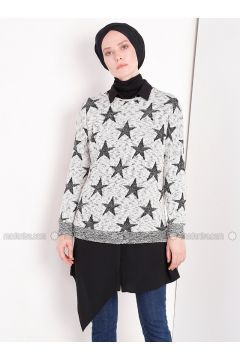 Gray - Multi - Crew neck - Jumper - MisCats(110314283)