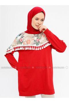 Red - Multi - Cotton - Crew neck - Tracksuit Top - Hatun Atila(110332247)