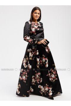 Black - Floral - Crew neck - Fully Lined - Dresses - DRESSLOVE(110339021)