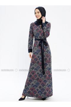 Navy Blue - Multi - Fully Lined - Crew neck - Muslim Evening Dress - MissGlamour(110321617)