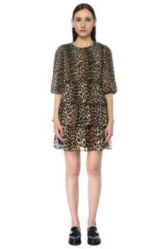 Ganni Kadın Leopar Desenli Pilili Mini Elbise Kahverengi 36 FR(116595580)