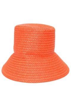 Eric Javits Kadın Turuncu Hasır Dokulu Logolu Şapka Kırmızı EU(114438745)
