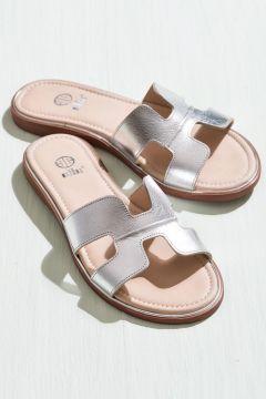 Elle Shoes SOMERS Hakiki Deri Gümüş Kadın Terlik(110974651)