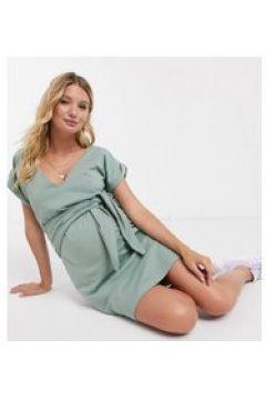 Esclusiva ASOS DESIGN Maternity - Vestito corto verde salvia per allattamento allacciato sul davanti con scollo a V(120385612)