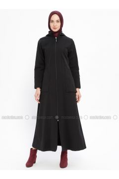 Black - Fully Lined - Crew neck - Acrylic - Trench Coat - Night Blue Collection(110331448)