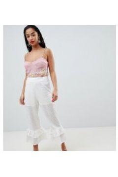 Lost Ink Petite - Bestickte Hose mit mehrlagigem Schößchensaum - Weiß(83084850)