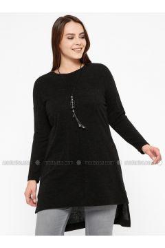 Black - Crew neck -- Plus Size Tunic - Efraze(110329575)