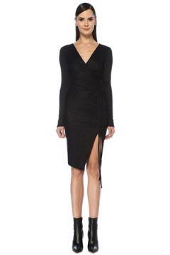 Allsaints Kadın Rina Siyah Simli Midi Anvelop Elbise Lacivert S EU(107373553)
