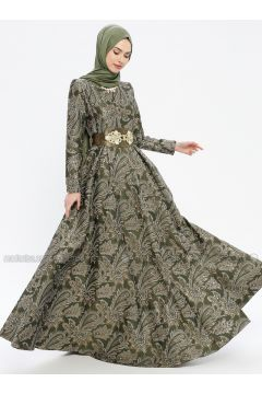 Khaki - Multi - Fully Lined - Crew neck - Muslim Evening Dress - MissGlamour(110320693)