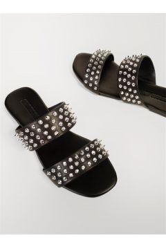 Shoes & More Kadın Siyah Hakiki Deri Terlik(124639225)