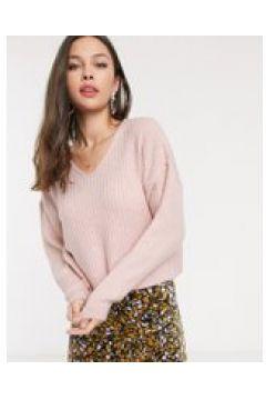 New Look - Maglione corto con scollo a V rosa chiaro-Cuoio(120362788)