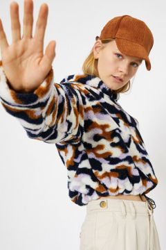 Koton Kadın Desenli Pelus Sweatshirt(117893282)