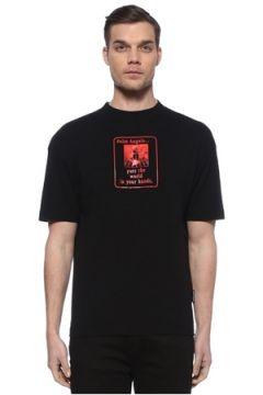 Palm Angels Erkek Kırmızı Siyah Baskılı T-shirt M EU(113466111)