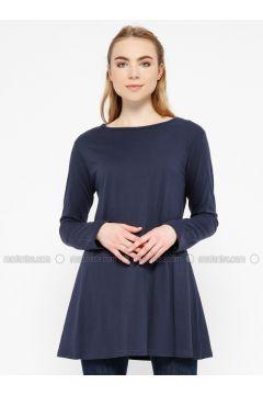Navy Blue - Crew neck - Cotton - Tunic - Meliana(110327098)