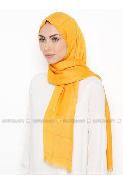 Yellow - Plaid - Shawl - Özsoy(110337844)